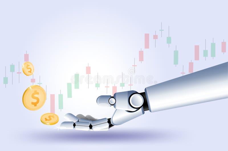 Wręcza robota rynek papierów wartościowych rynkom walutowym handlarskiego wykres Wektorowa futurystyczna Mądrze inwestorska techn royalty ilustracja