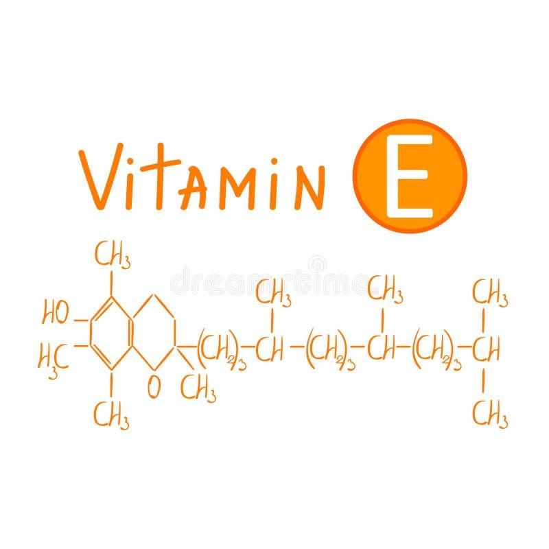 Wręcza rysować chemiczną formułę witaminy e wektorowa ilustracja odizolowywająca na białym tle royalty ilustracja