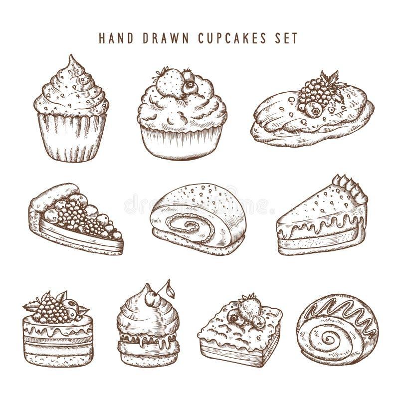 Wręcza rysującego set babeczki i piekarnia produkty Retro wektorowa rocznik ilustracja ilustracji