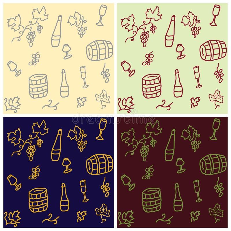 Wręcza rysującego set bezszwowi wzory winogrona, wino butelki, gla ilustracja wektor