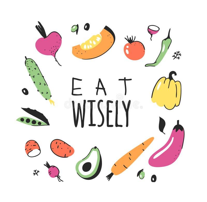 Wręcza rysującego set warzywa, owoc i eco życzliwi słowa, Wektorowego artystycznego doodle rysunkowy jedzenie i weganin wycena ja ilustracji