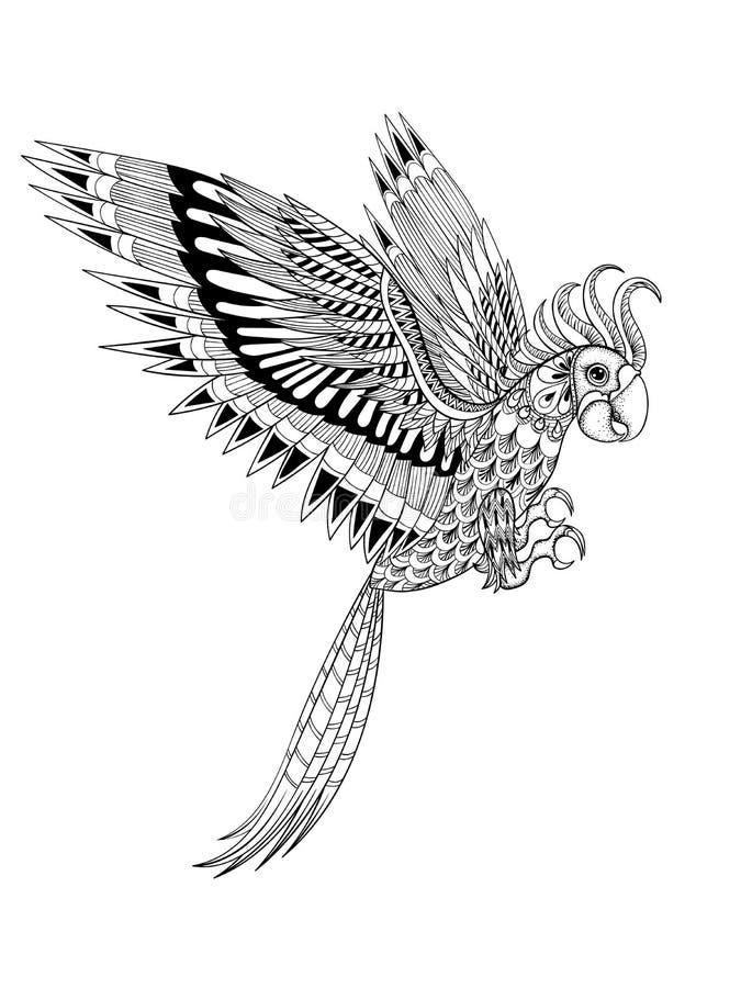 Wręcza rysującej artistically ornamentacyjnej plemiennej papugi, ptasi totem dla royalty ilustracja