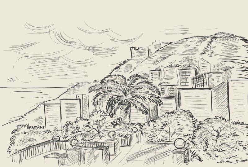 Wręcza rysunek góra i Śródziemnomorski krajobraz morzem Wektorowy atramentu nakreślenie w rocznika stylu ilustracji