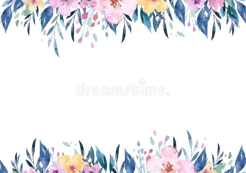 Wręcza rysunek odizolowywającej boho akwareli kwiecistych ilustracyjnych bukiety z liśćmi, gałąź, kwiaty Artystyczna greenery szt ilustracja wektor
