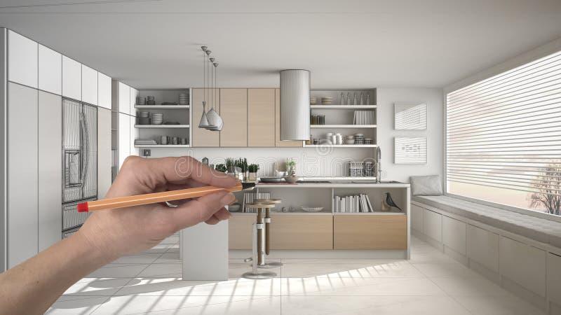 Wręcza rysunkową obyczajową nowożytną białą i drewnianą kuchnię Dostosowywający niedokończonej projekt architektury wewnętrzny pr royalty ilustracja