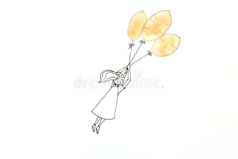 Wręcza rysunkowego ślicznego kreskówki dziewczyny latanie z balonem robić półprzezroczyści seedpods Minimalny, kreatywnie lub mar obraz royalty free