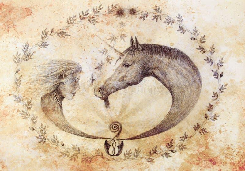 Wręcza rysunkowego elfa i jednorożec z pięknym kwiatem Remis na rocznika papierze tło para odizolowywał portretów potomstwa profi ilustracja wektor