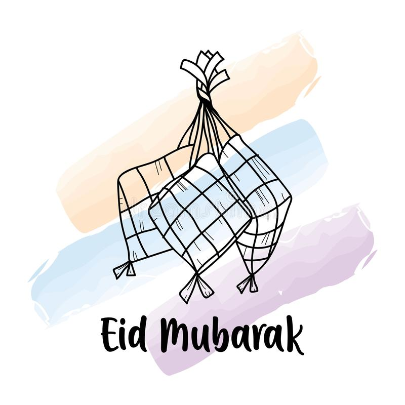 Wręcza rysunkowego KetupatIndonesian jedzenie dla Eid Mubarak powitania ilustracji