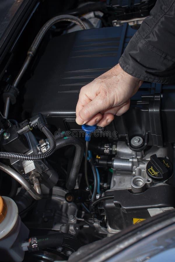 Wręcza sprawdzać nafcianego poziom samochodowy silnik obrazy stock