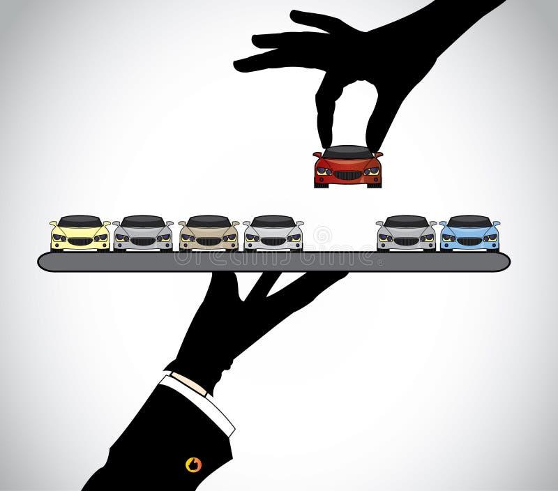 Wręcza sylwetkę wybiera najlepszy czerwonego samochód od samochodowego handlowa agenta ilustracja wektor