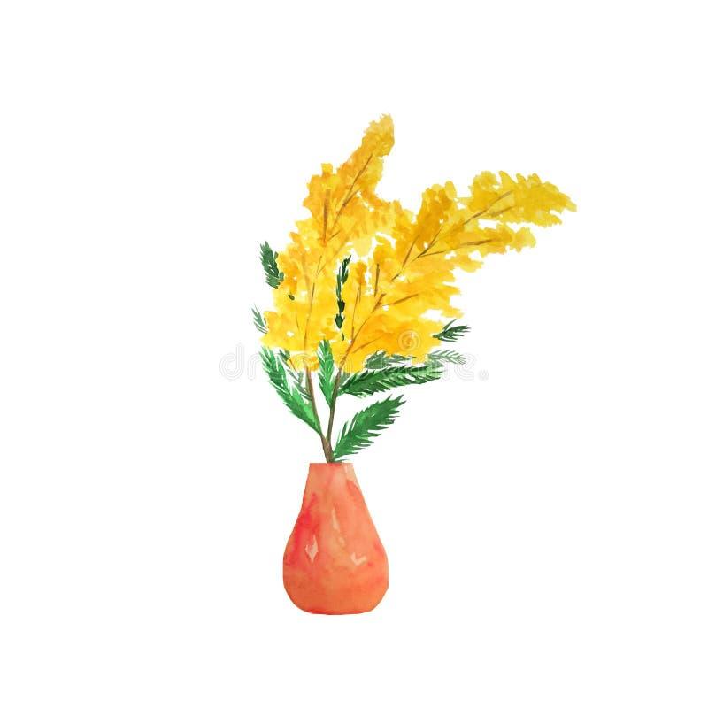 Wręcza tonięcie akwareli mimozy w czerwonej wazie ilustracji
