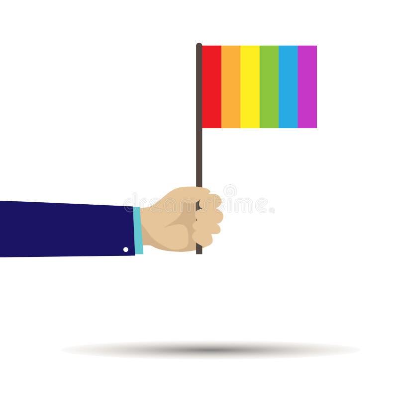 Wręcza trzymać flagę w colours LGB royalty ilustracja