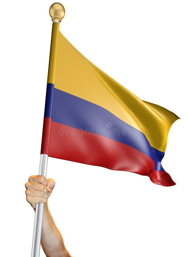 Wręcza trzymać flaga Kolumbia odizolowywał na białym tle, 3D rendering royalty ilustracja