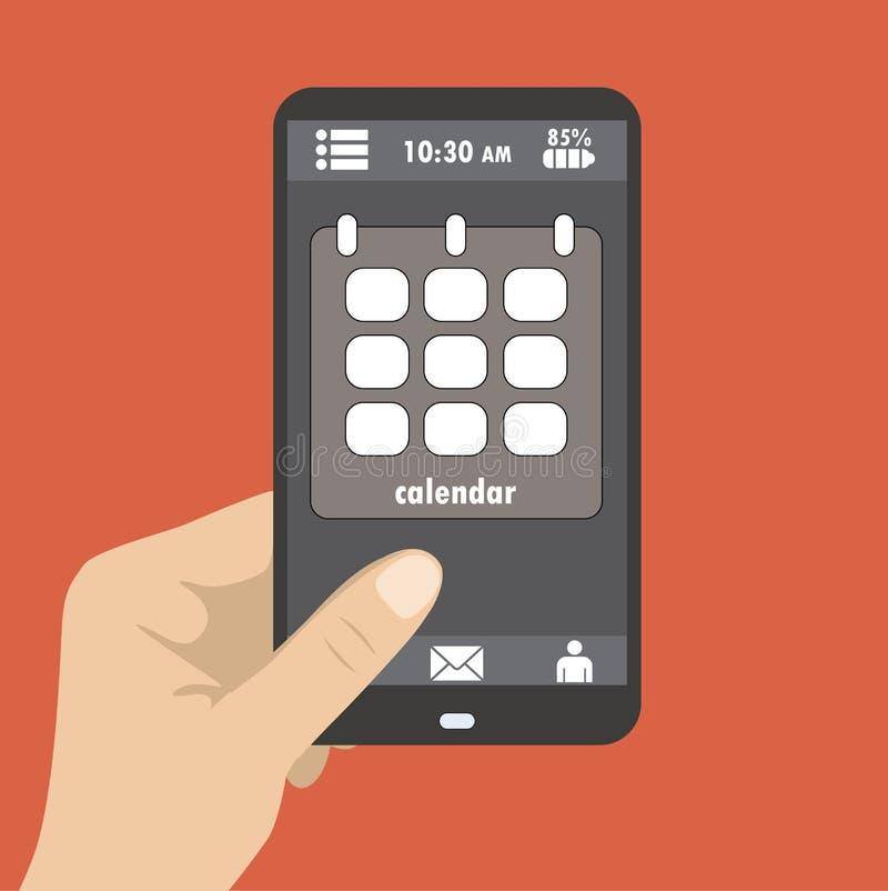 Wręcza trzymać mądrze telefon parawanowy ikona kalendarz, płaski projekt ilustracja wektor