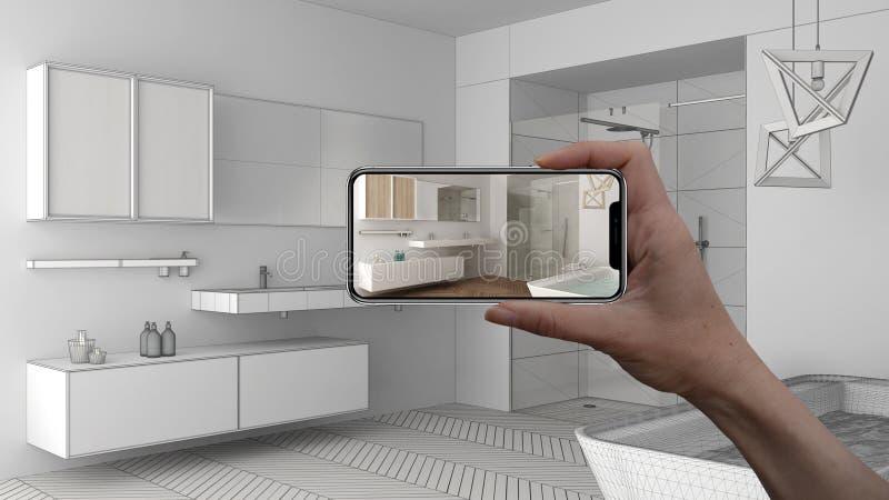 Wręcza trzymać mądrze telefon, symuluje projektów produkty w reala domu, AR zastosowanie, meblarskiego i wewnętrznego, architekta obrazy royalty free