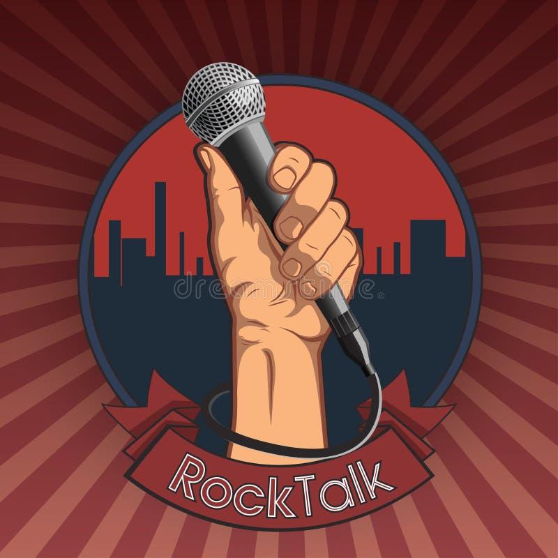 Wręcza trzymać mikrofon w pięść retro rockowym plakacie ilustracja rockowy rozmowa druk ilustracja wektor