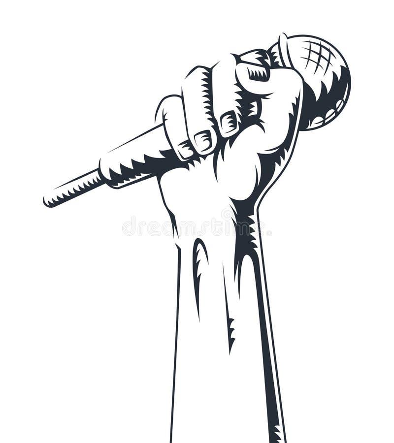 Wręcza trzymać mikrofon w pięść wektoru ilustraci Konturowa ręki ikona z mikrofonem ilustracja wektor