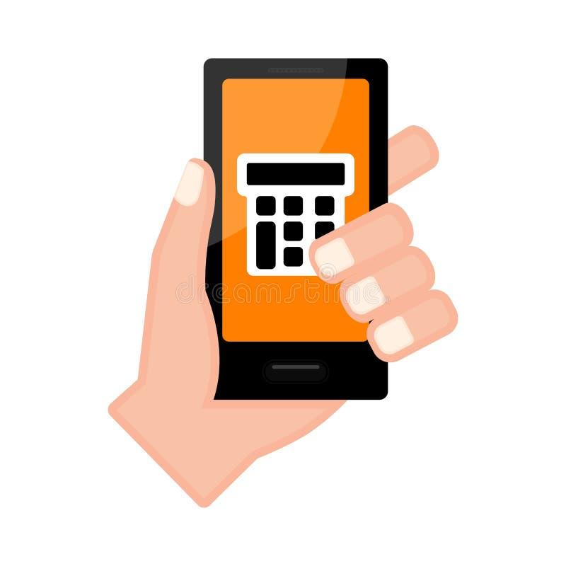 Wręcza trzymać smartphone z kalkulatorem app royalty ilustracja
