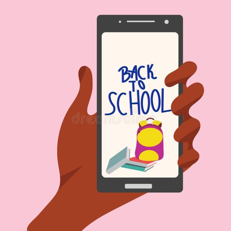 Wręcza trzymać smartphone z książkami, plecakiem i pisać list z powrotem, szkoła royalty ilustracja