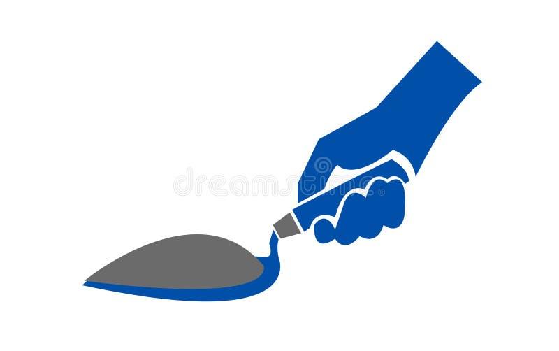 Wręcza trzymać szpachelkę z stosem cement ilustracja wektor