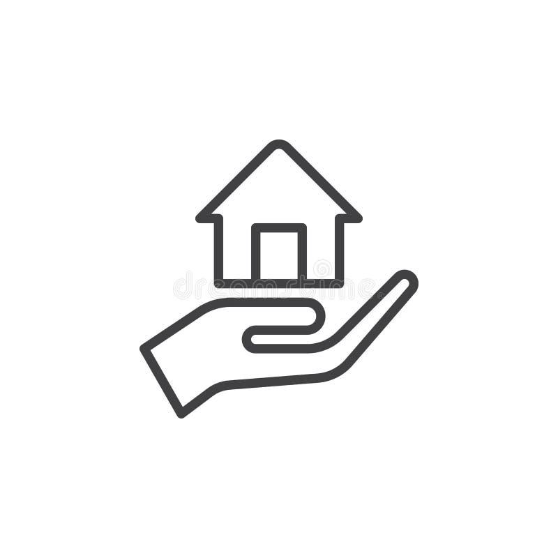 Wręcza trzymać up domową kreskową ikonę, konturu wektoru znak, liniowy stylowy piktogram odizolowywający na bielu ilustracji