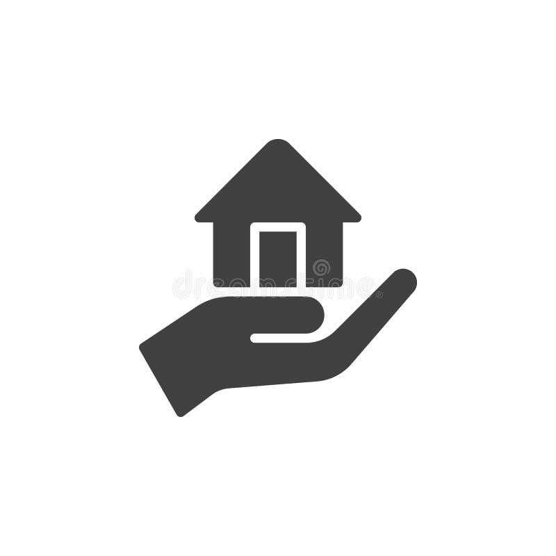 Wręcza trzymać up domowego ikona wektor, wypełniający mieszkanie znak, stały piktogram odizolowywający na bielu ilustracja wektor