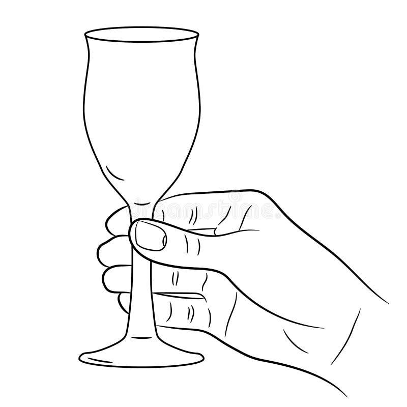Wręcza trzymać wina szkło na bielu monochromatyczny vect royalty ilustracja