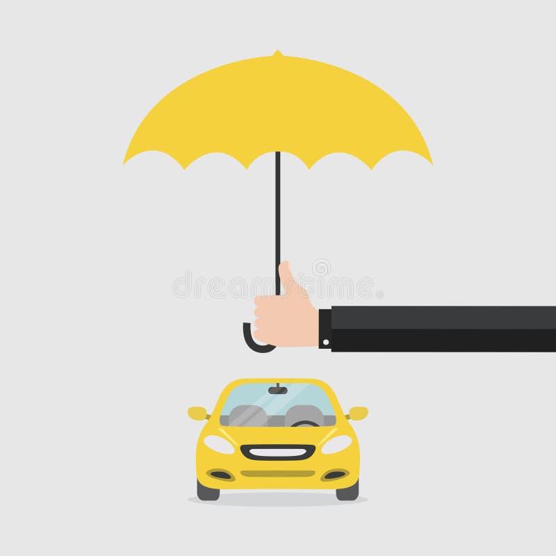 Wręcza ubezpieczającego z parasolem który ochrania samochód