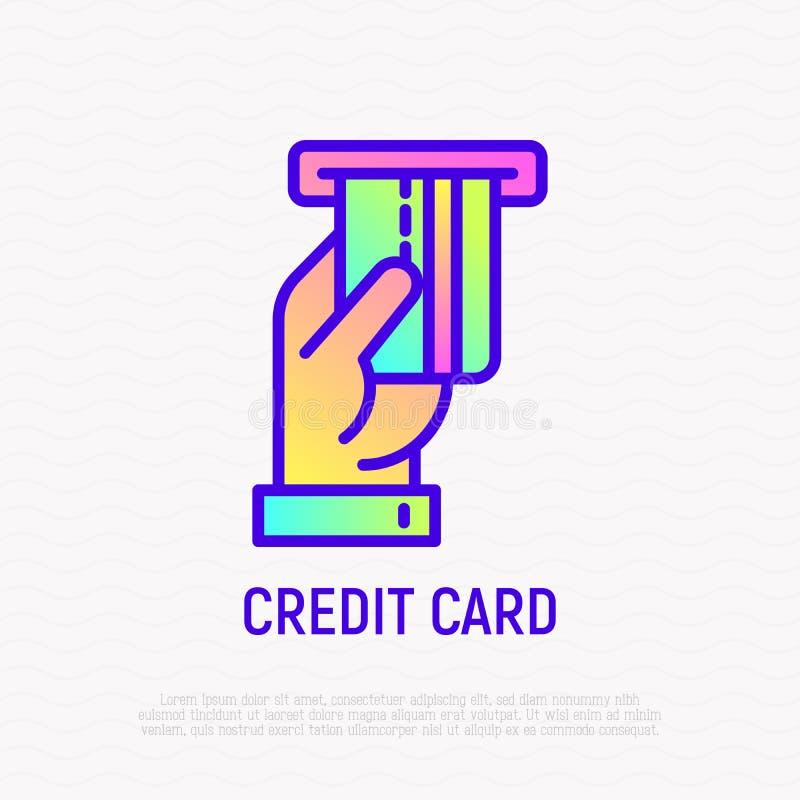Wręcza wkładać kartę kredytową w ATM szczeliny linii ikonie ilustracja wektor