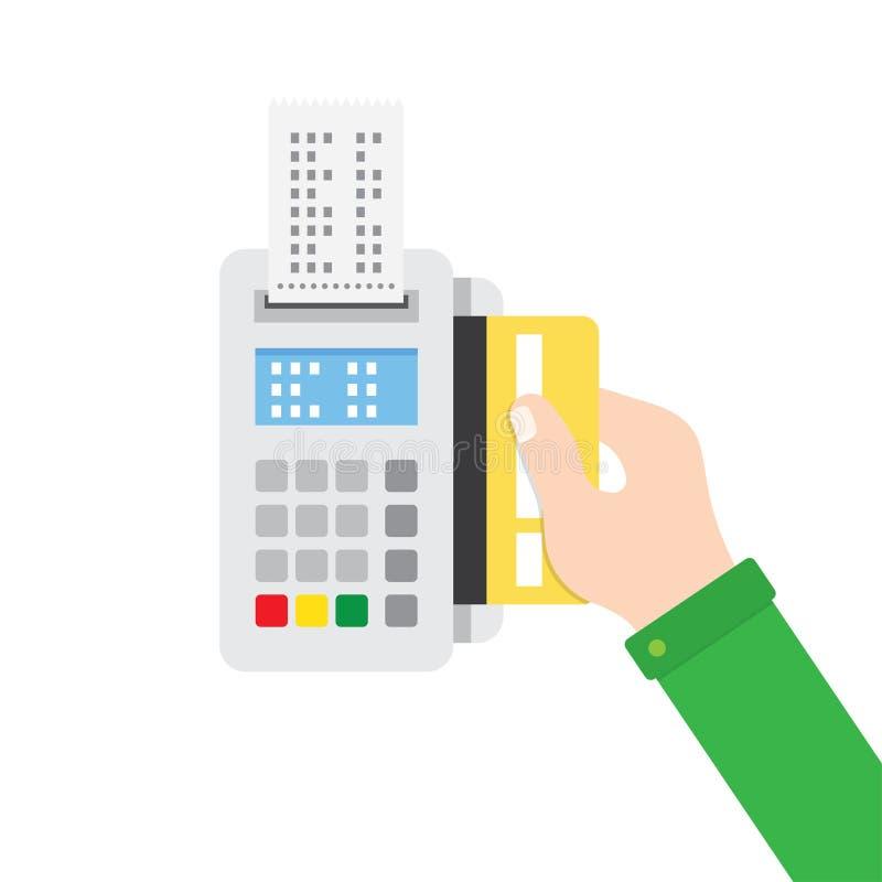 Wręcza wkładać kredytową kartę POS terminal royalty ilustracja
