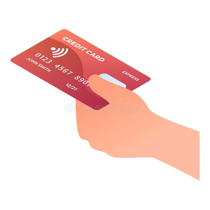 Wręcza wp8lywy czerwoną karty kredytowej ikonę, isometric styl ilustracja wektor