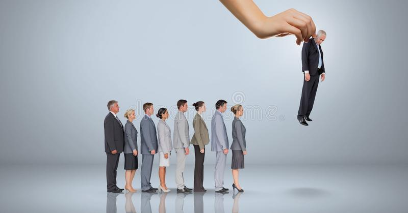 Wręcza wybierać biznesowego mężczyzna na popielatym tle z ludźmi biznesu ilustracja wektor