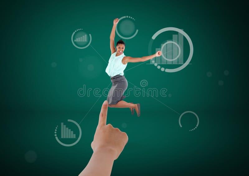 Wręcza wybierać biznesowej kobiety na zielonym tle z wykresem ilustracji