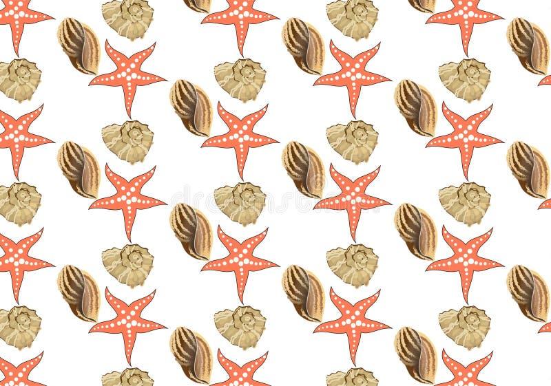 Wr?cza patroszone wektorowe ilustracje - bezszwowy wz?r seashells ilustracja wektor