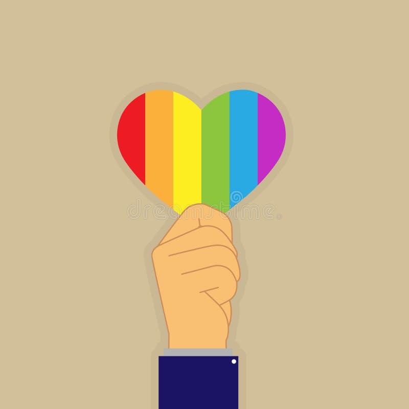 Wr?cza trzyma? serce w colours LGBT ilustracja wektor