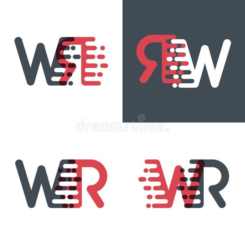 WR marque avec des lettres le logo avec le rose de vitesse d'accent et gris-foncé illustration libre de droits