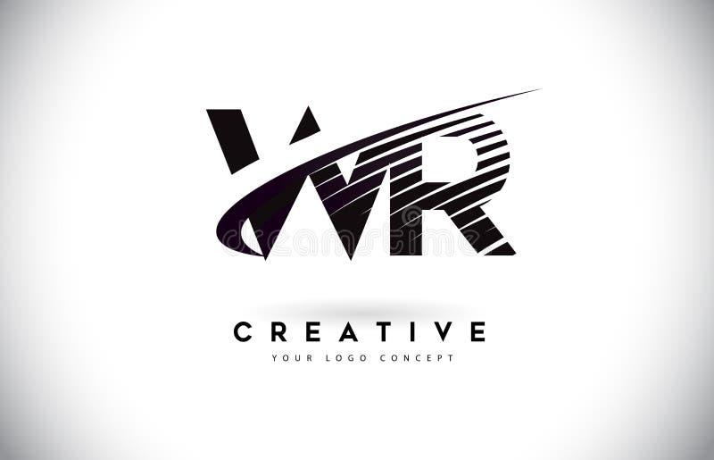 WR W R信件与Swoosh和黑线的商标设计 皇族释放例证