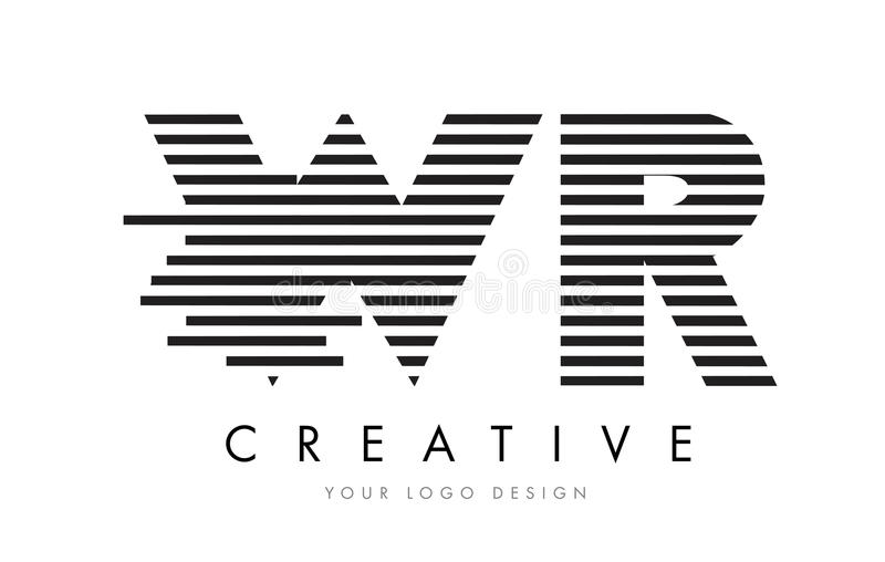 WR W R Zebra Letter Logo Design with Black and White Stripes royalty free illustration