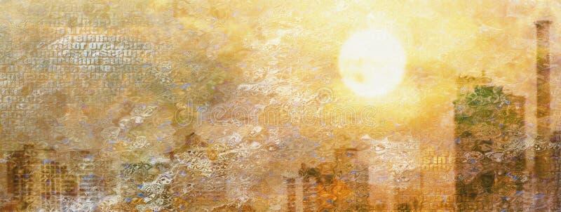 Wrażenia miasta słońce ilustracja wektor