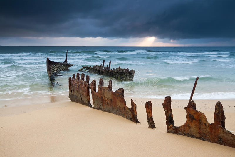 Wrack auf australischem Strand am Sonnenaufgang stockfotografie