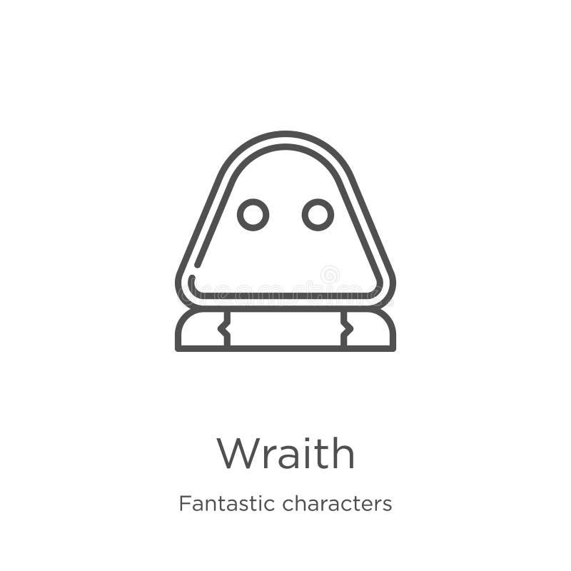 wraith ikony wektor od fantastycznych charakterów inkasowych Cienka kreskowa wraith konturu ikony wektoru ilustracja Kontur, cien ilustracji