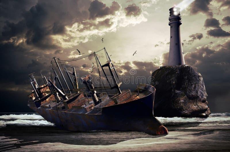 Wrak van een grote vrachtboot vector illustratie