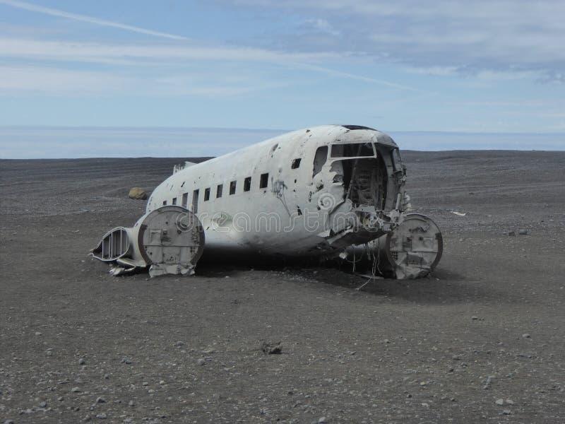 Wrak van ons vliegtuig IJsland royalty-vrije stock afbeelding