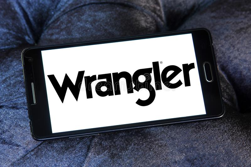 Wrangler cajgów gatunku logo zdjęcia stock