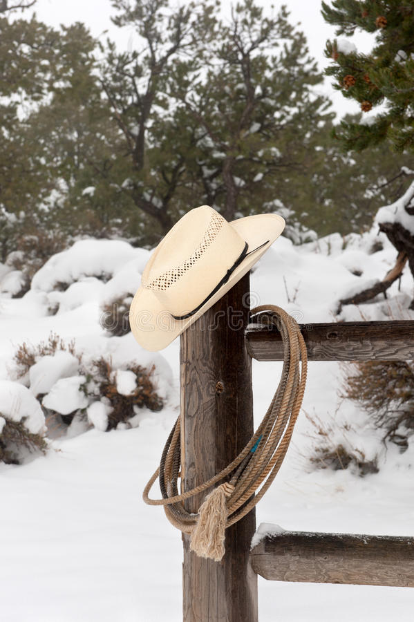 Wrangler lasso i kapelusz obrazy stock