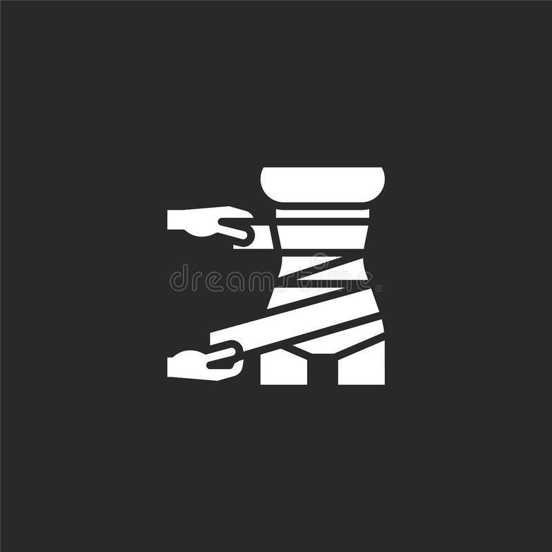 wrap icon. Filled wrap icon for website design and mobile, app development. wrap icon from filled spa collection isolated on black vector illustration