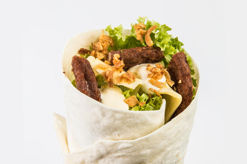 Wrap sandwich on white. Background stock photo