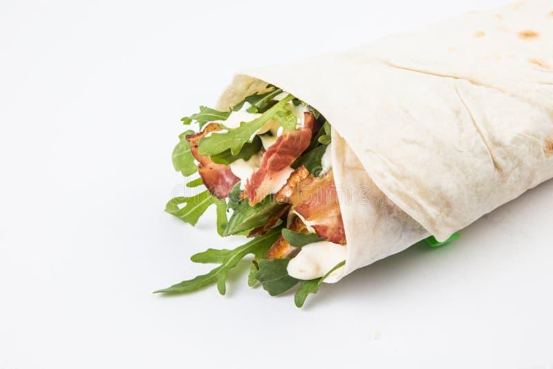 Wrap sandwich. On white background stock photo