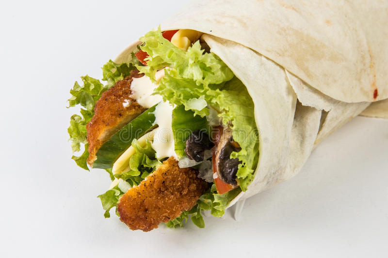 Wrap sandwich. On white background stock images