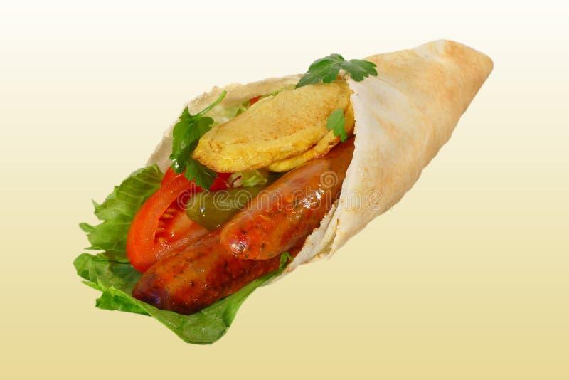 Wrap with sausage and salad stock photos